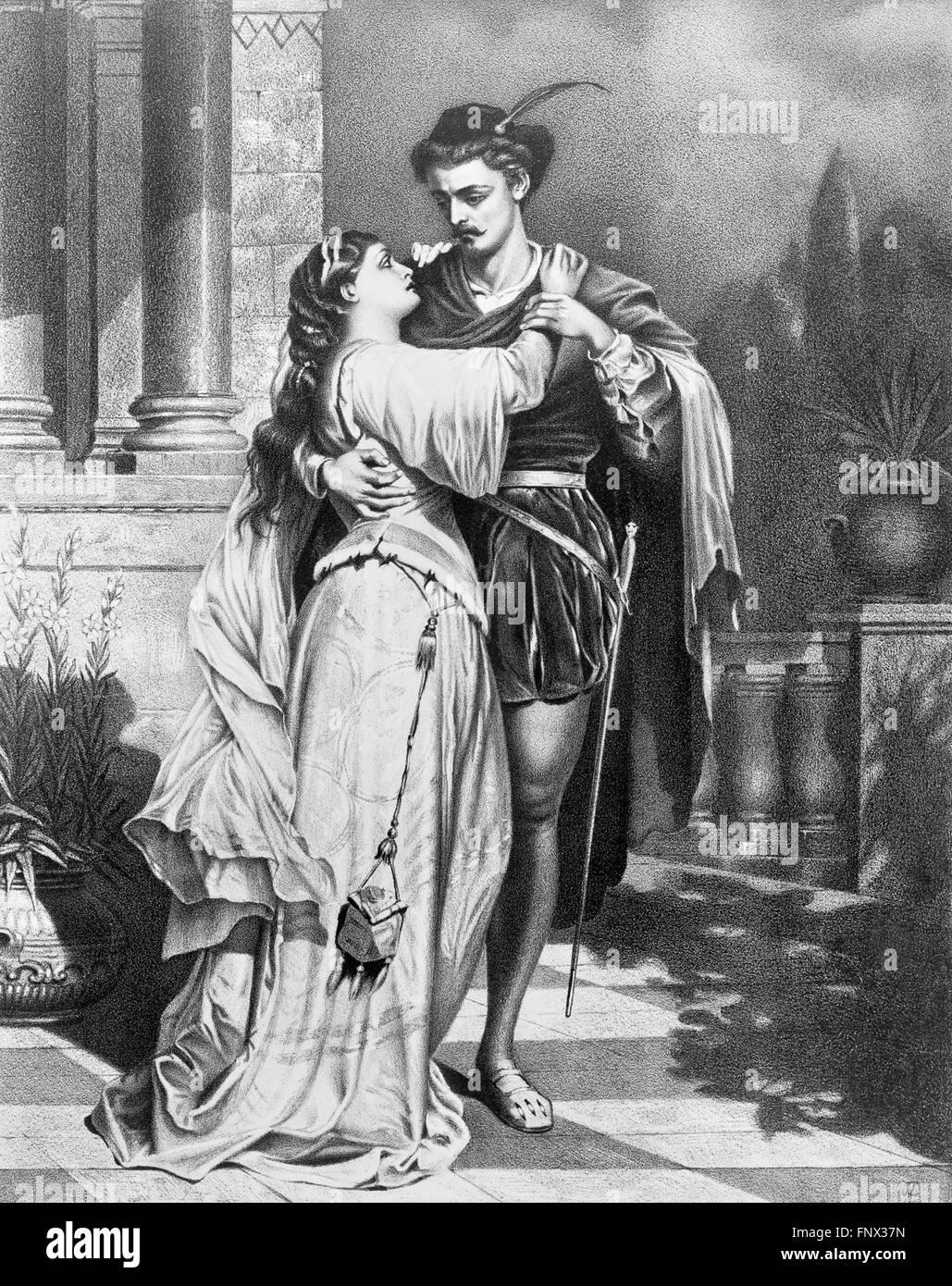 Roméo et Juliette. Une 19thC affiche publicitaire de Shakespeare's 'Roméo et Juliette', 1879. Banque D'Images
