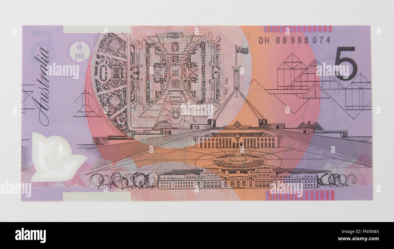 L'arrière d'un billet de banque de cinq dollars australiens Photo Stock
