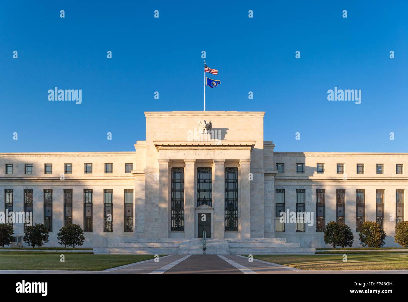 La Fed, Banque de Réserve fédérale, Washington DC. Marriner S. Eccles Building sur Constitution Avenue Photo Stock