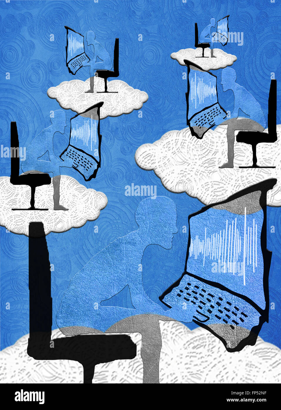 Cloud computing concept illustration numérique Banque D'Images