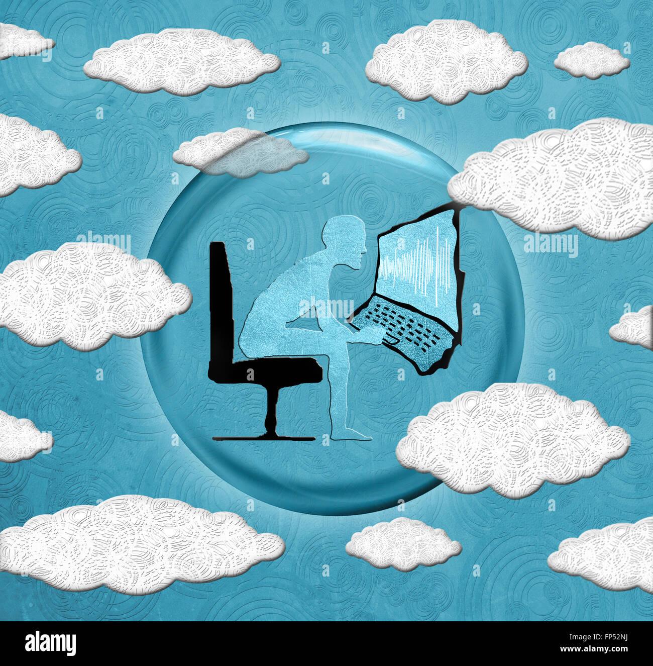 Cloud computing concept illustration numérique Banque D'Images