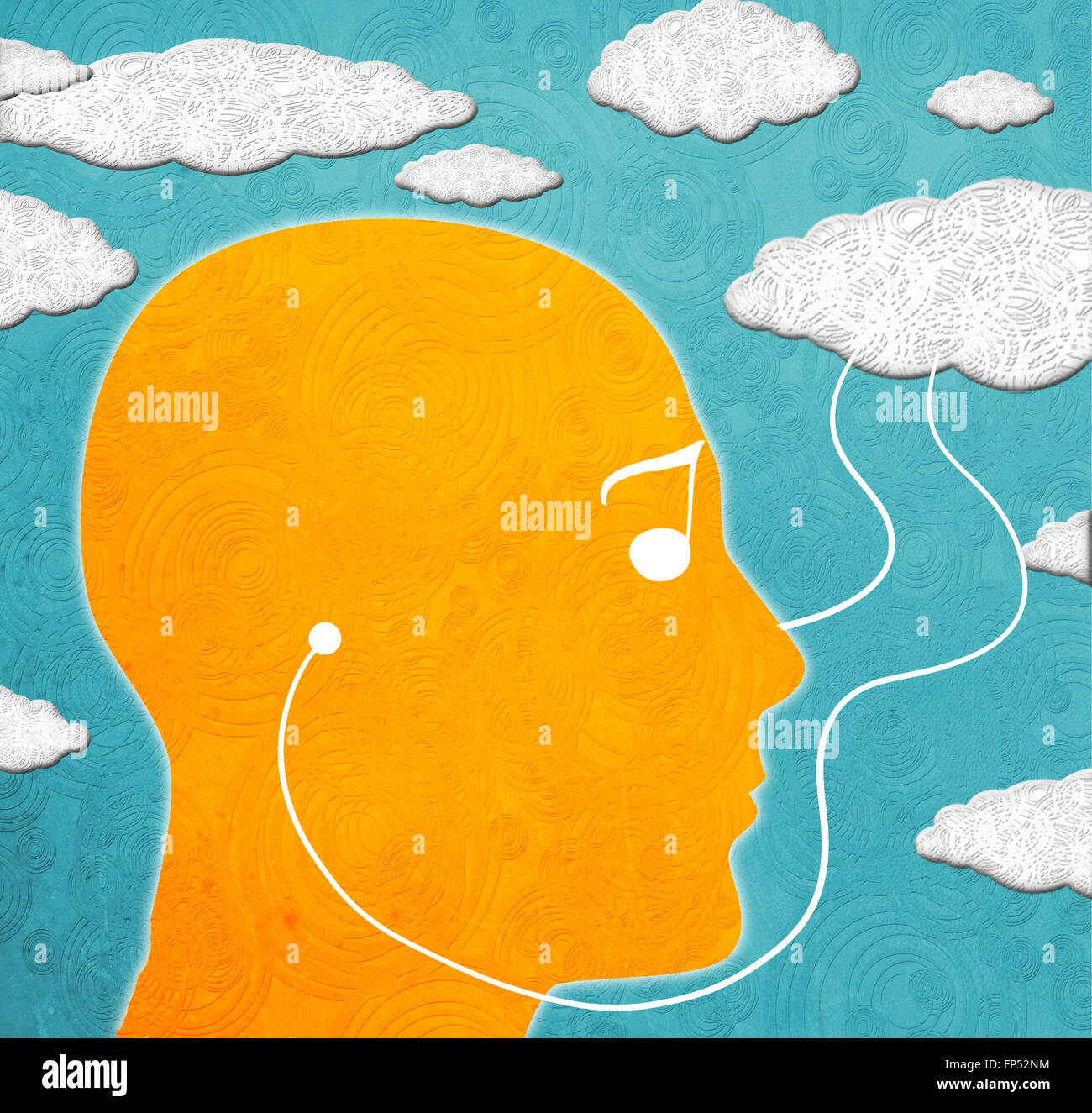 Illustration numérique de musique de cloud computing Photo Stock