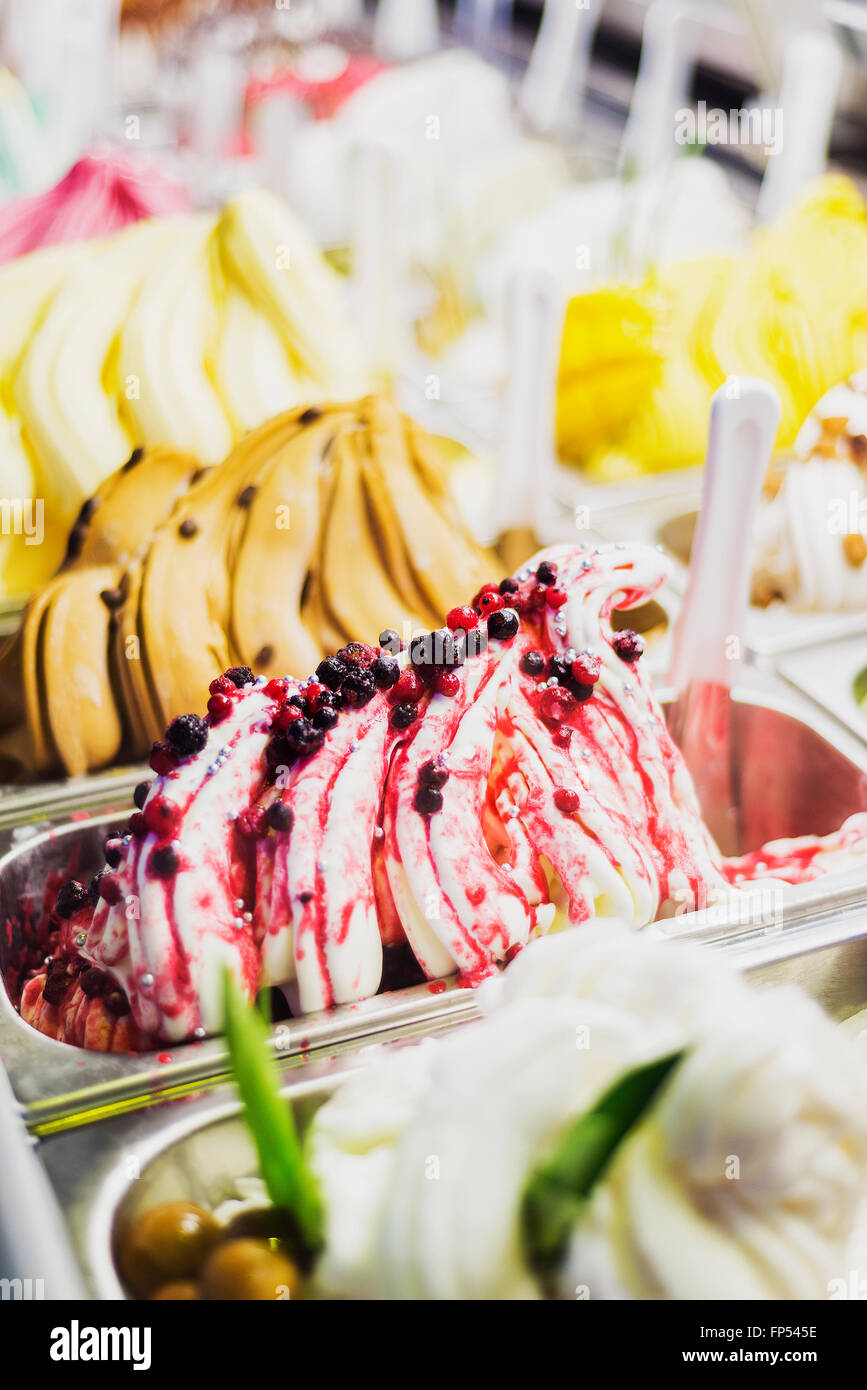 Gastronomique italienne classique gelato glace gelatto afficher en boutique Photo Stock