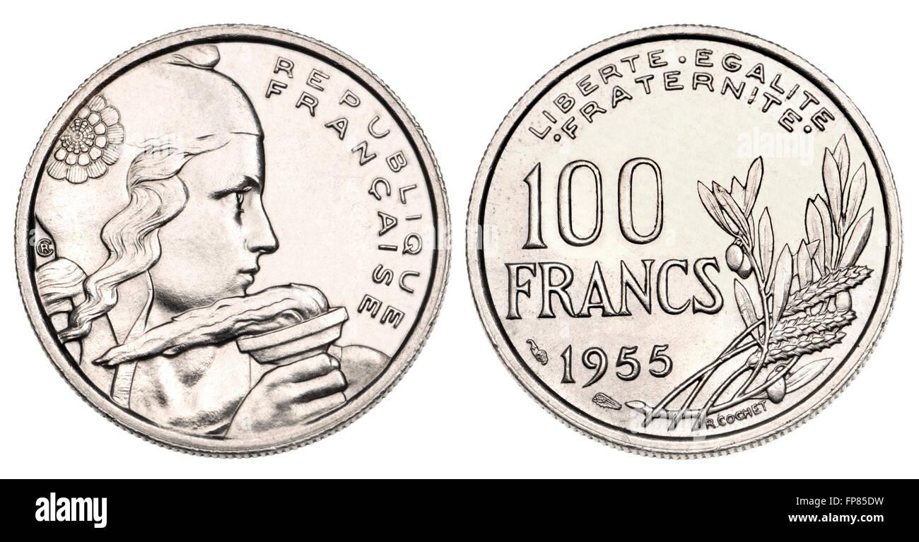 Pièce de monnaie française - 100F, 1955, montrant la liberté tenant un flambeau [nettoyé numériquement] Photo Stock