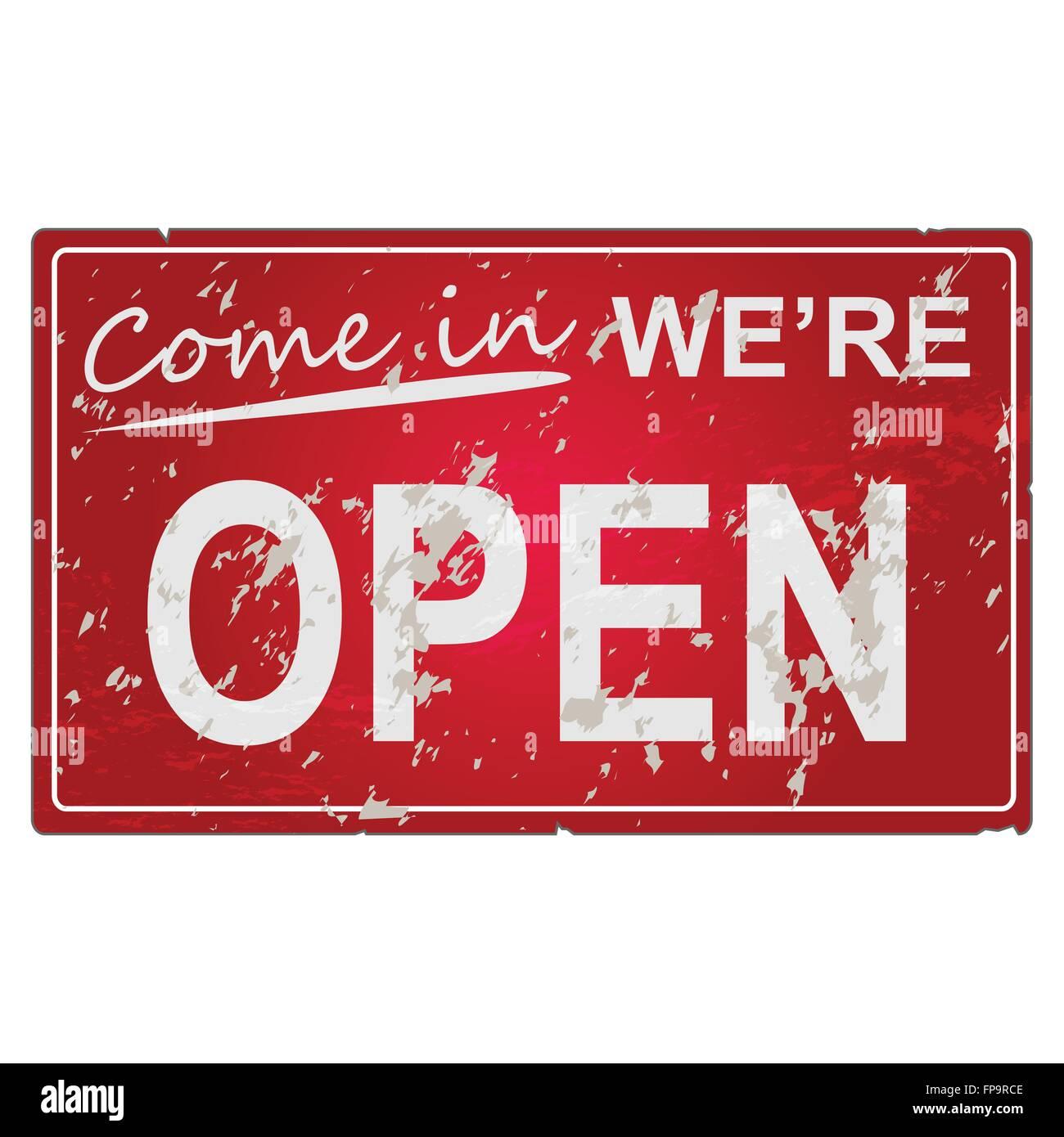 Image d'un vieux, usé 'Venez à nous sommes ouverts'. Photo Stock