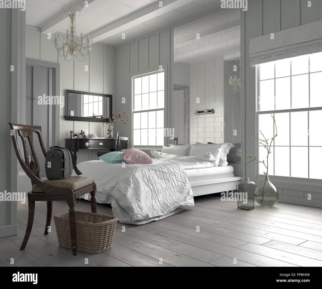Grande chambre moderne chambre blanche intérieur avec un lit king ...