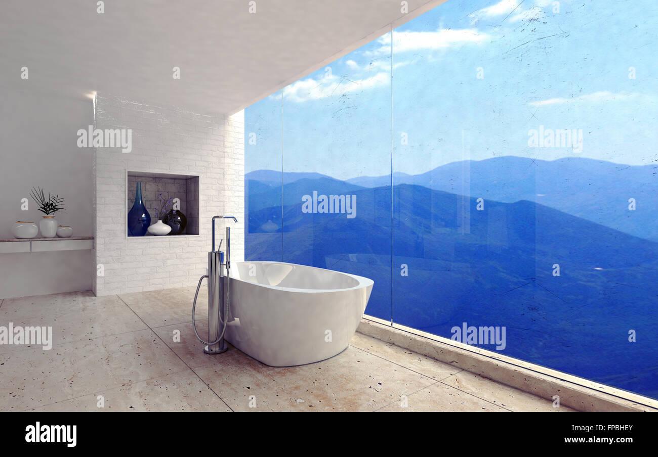 Salle de bains moderne de luxe intérieur avec un bain à ...