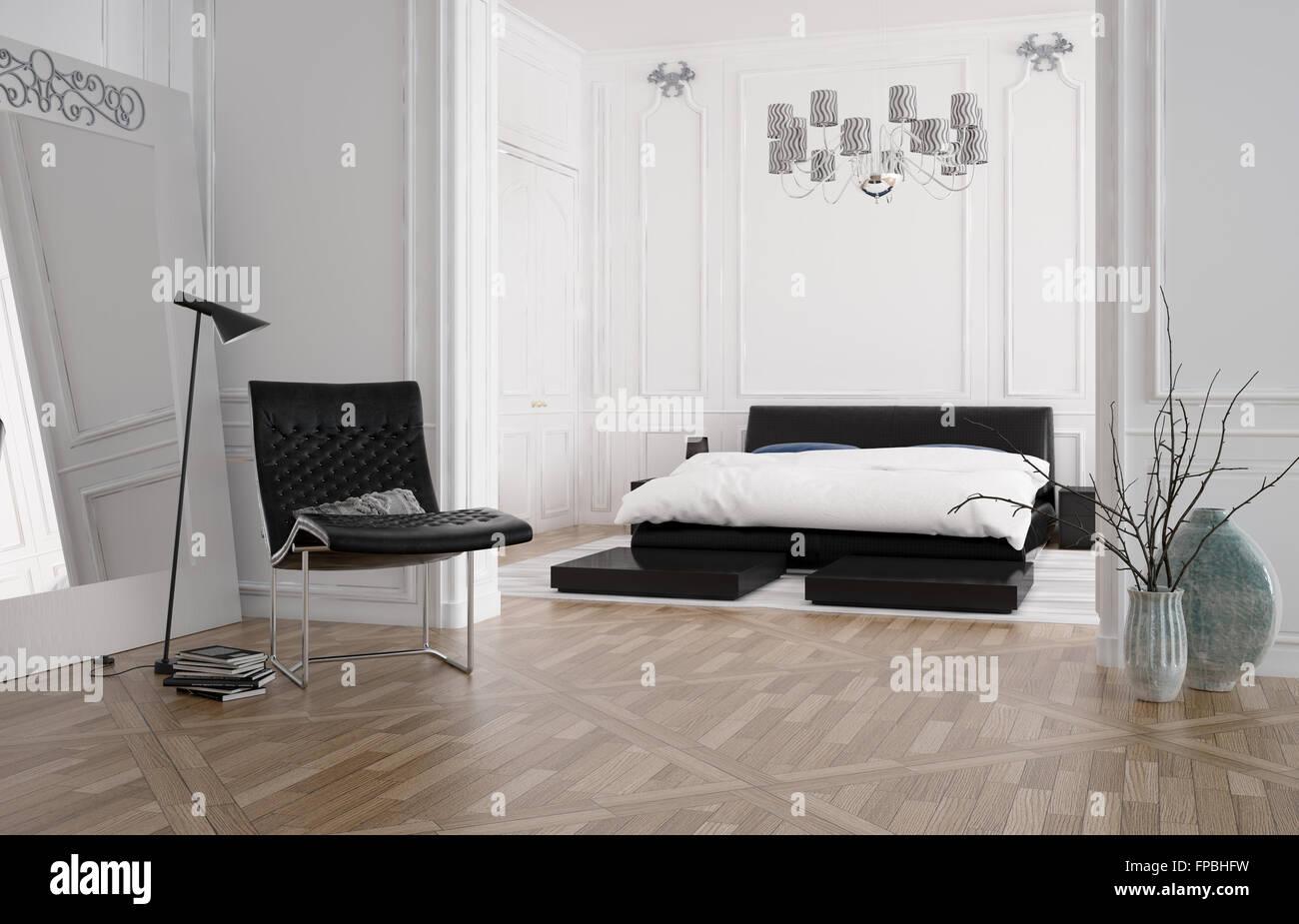 3d Render Of A Chambre A Coucher Spacieuse Et Moderne Avec Un Interieur Lit Encastre Dans Une Alcove Et Lambris En Bois Blanc Sur Les Murs Avec Un Parquet En Bois Lampe