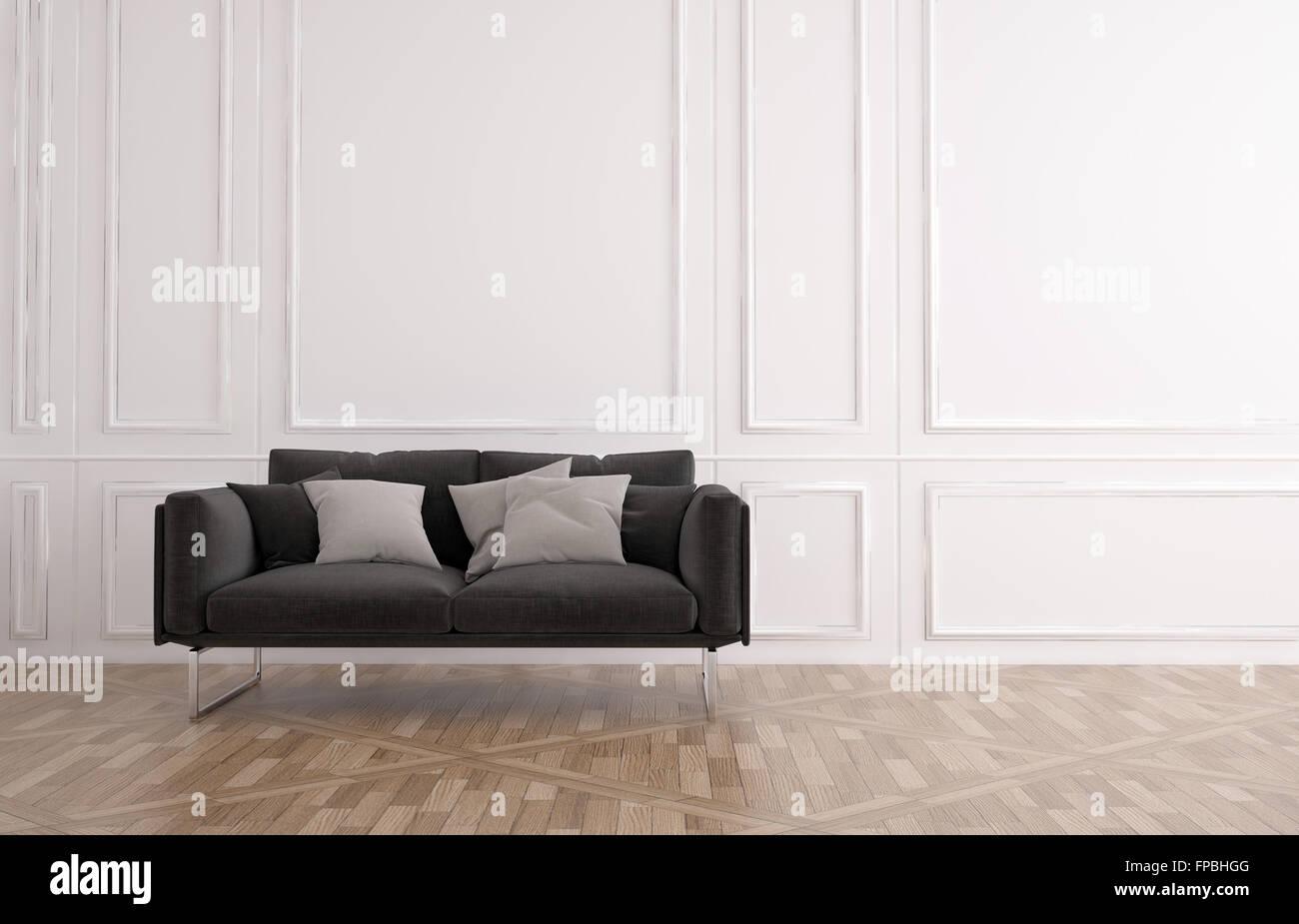 La table gris classique dans une chambre lambrissée avec lambris ...