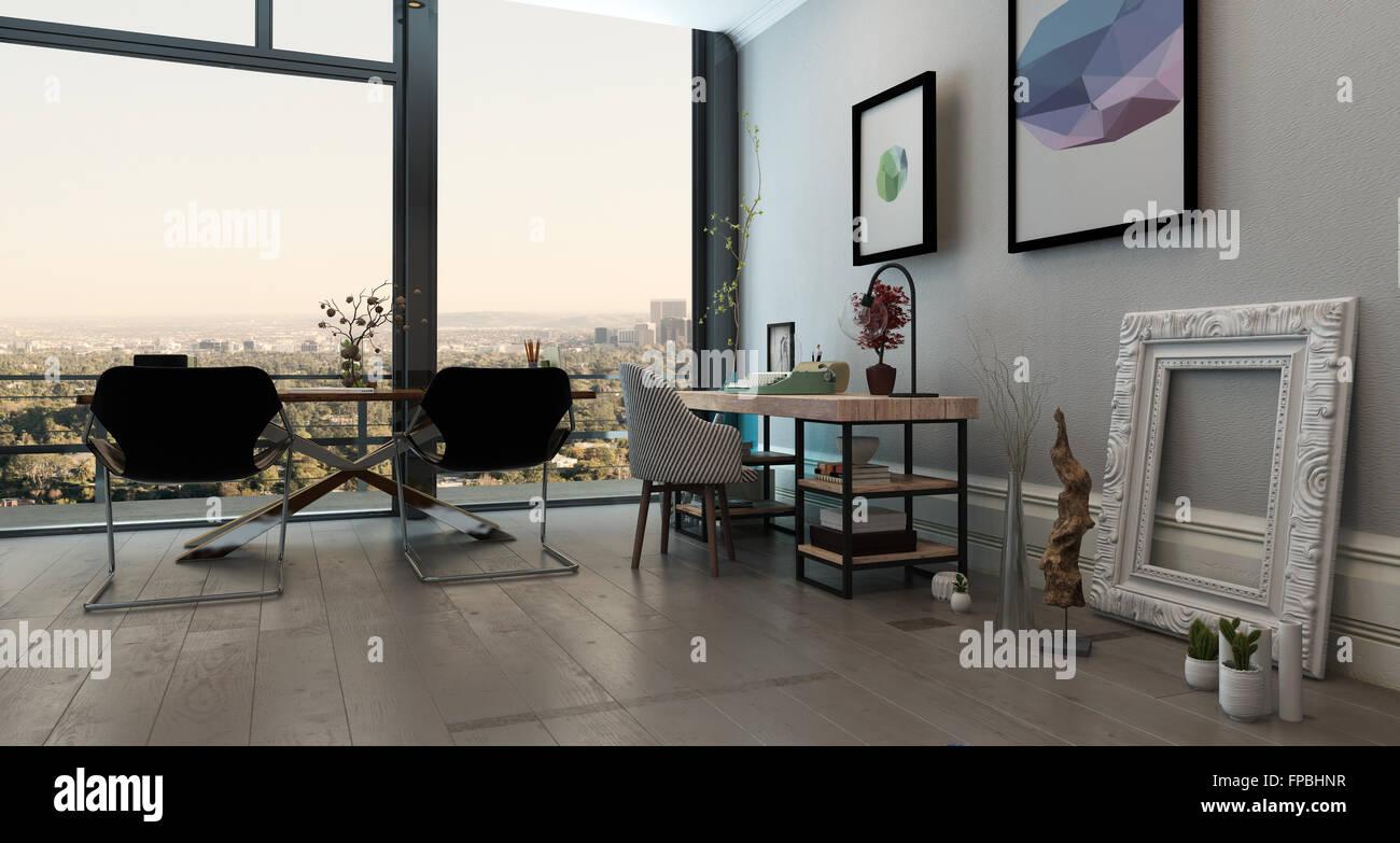 Vue panoramique de l intérieur bureau concept ouvert dans une tour