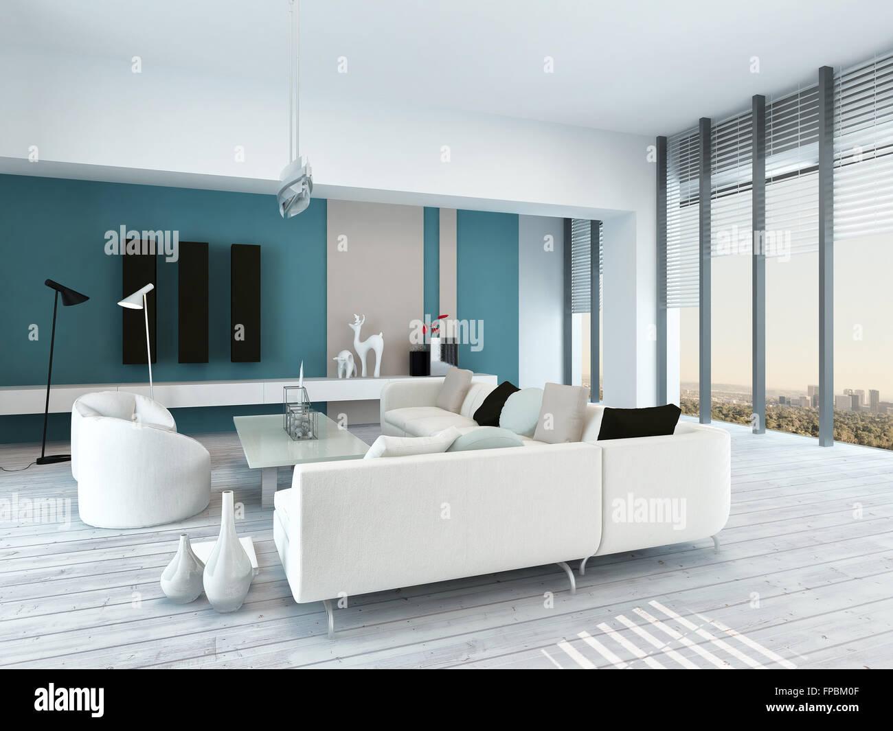 Joli salon bleu et blanc intérieur avec un plancher de bois peint ...