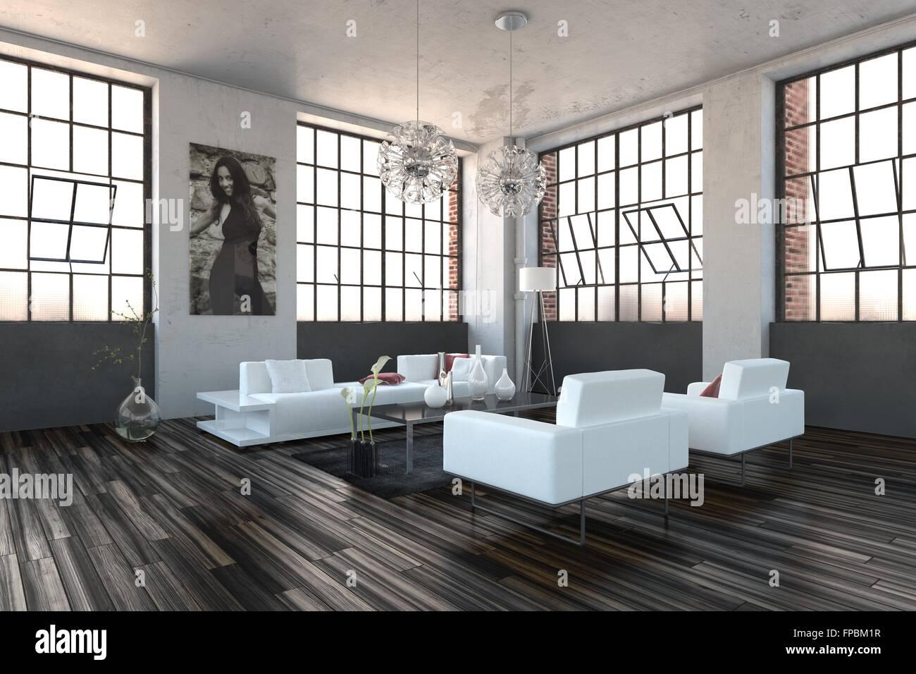 Haut volume très lumineux salon moderne avec intérieur ...