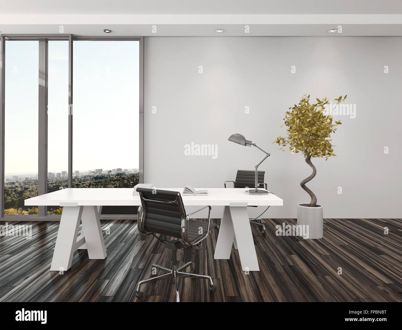Bureau d accueil moderne avec deux chaises de bureau de chaque