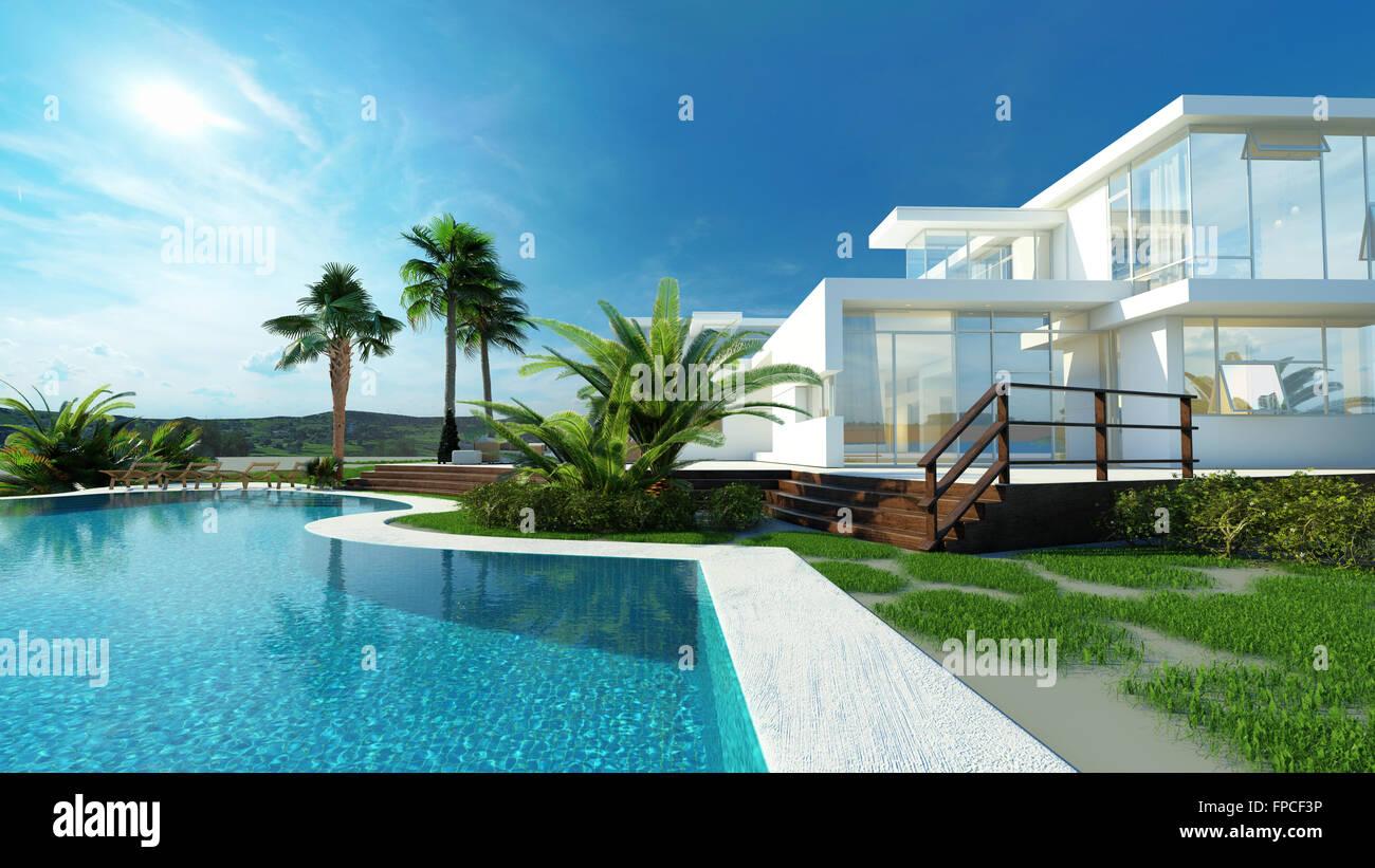 Moderne De Luxe Maison Blanche Avec Murs Angulaires Et De Grandes Fenêtres  Donnant Sur Un Jardin Paysager Tropical Avec Palmiers Et Piscine Bleu En  Courbe