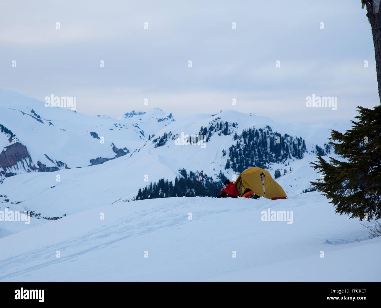 Camping à Elfin Lakes, parc provincial Garibaldi (Colombie-Britannique) Photo Stock