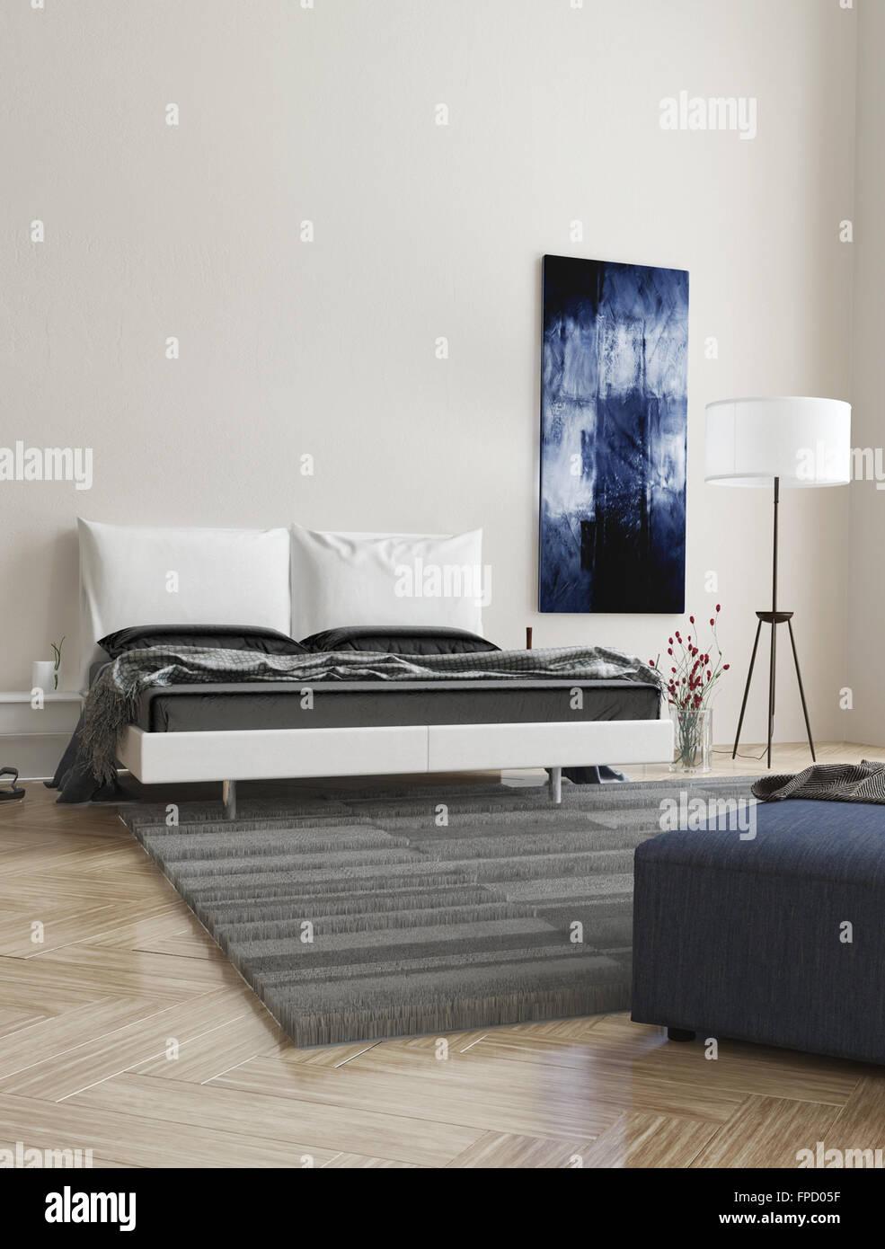 Contemporain Confortable Chambre Gris Et Blanc Avec Interieur