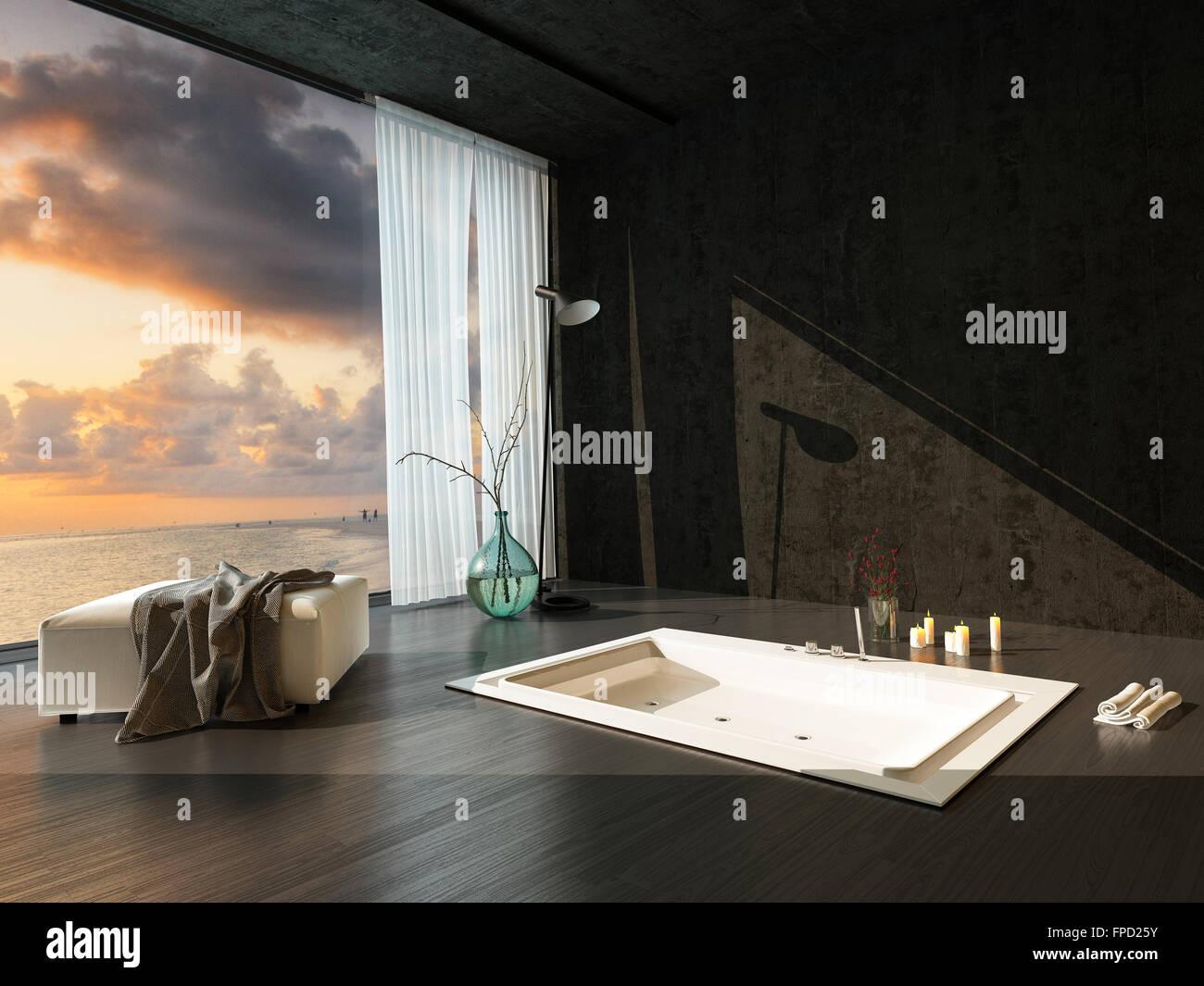 baignoire encastr e romantique dans un sombre rehauss d 39 39 une salle de bains moderne avec. Black Bedroom Furniture Sets. Home Design Ideas