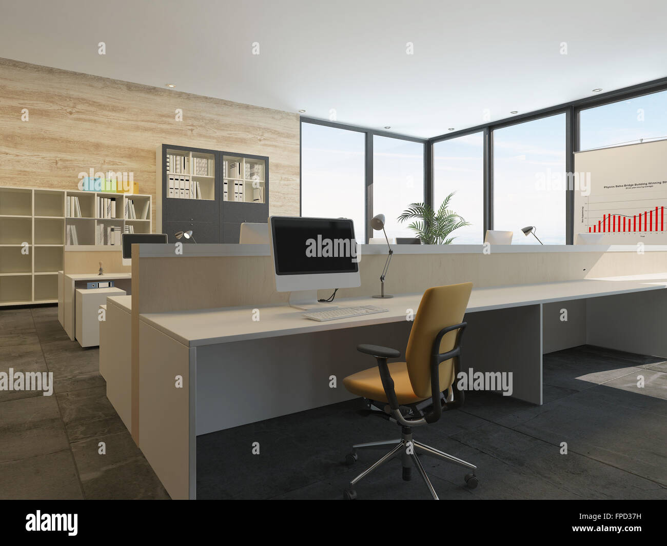L intérieur de bureau moderne avec de multiples stations de