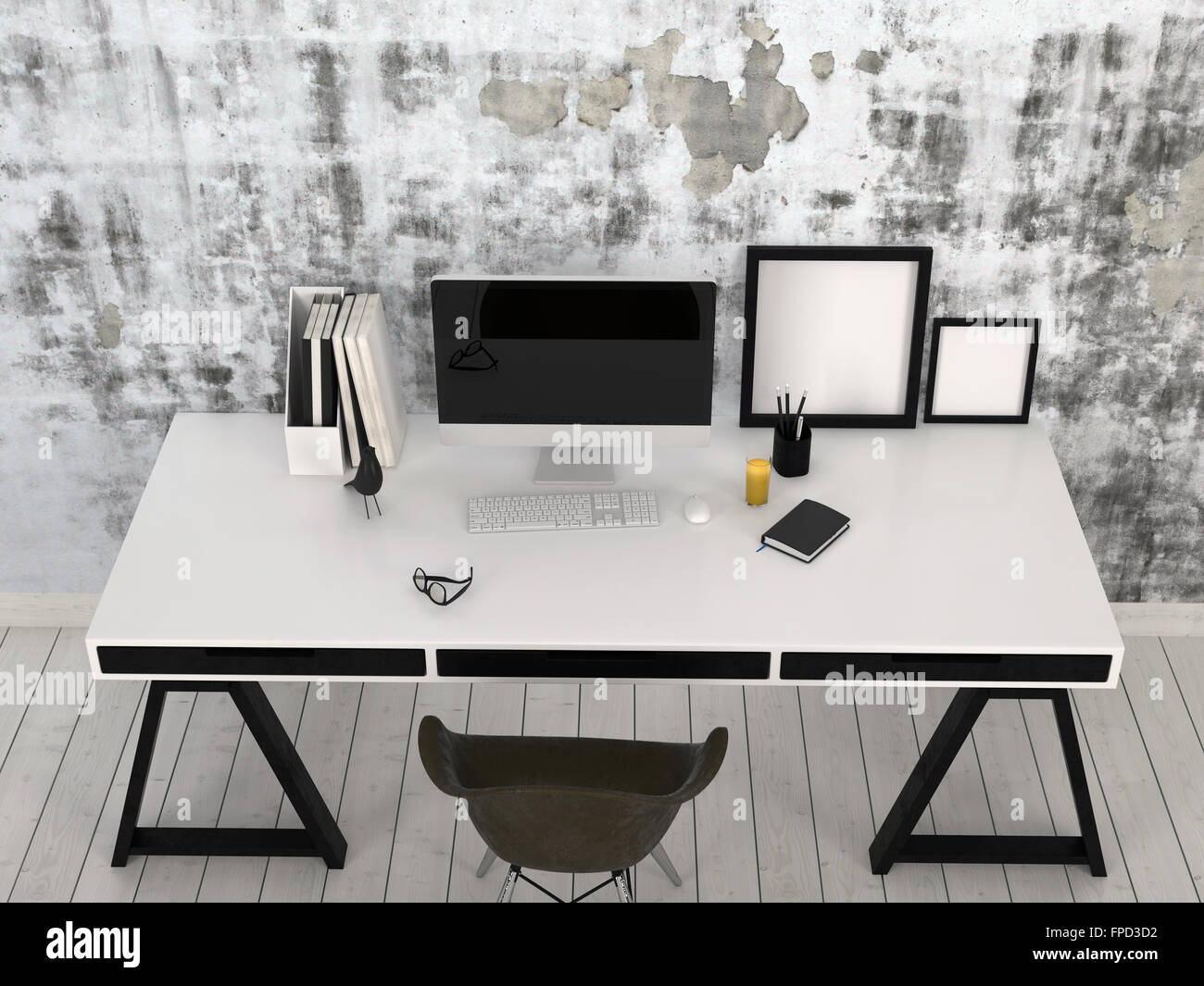 Noir et blanc moderne et élégant bureau sur tréteaux dans un