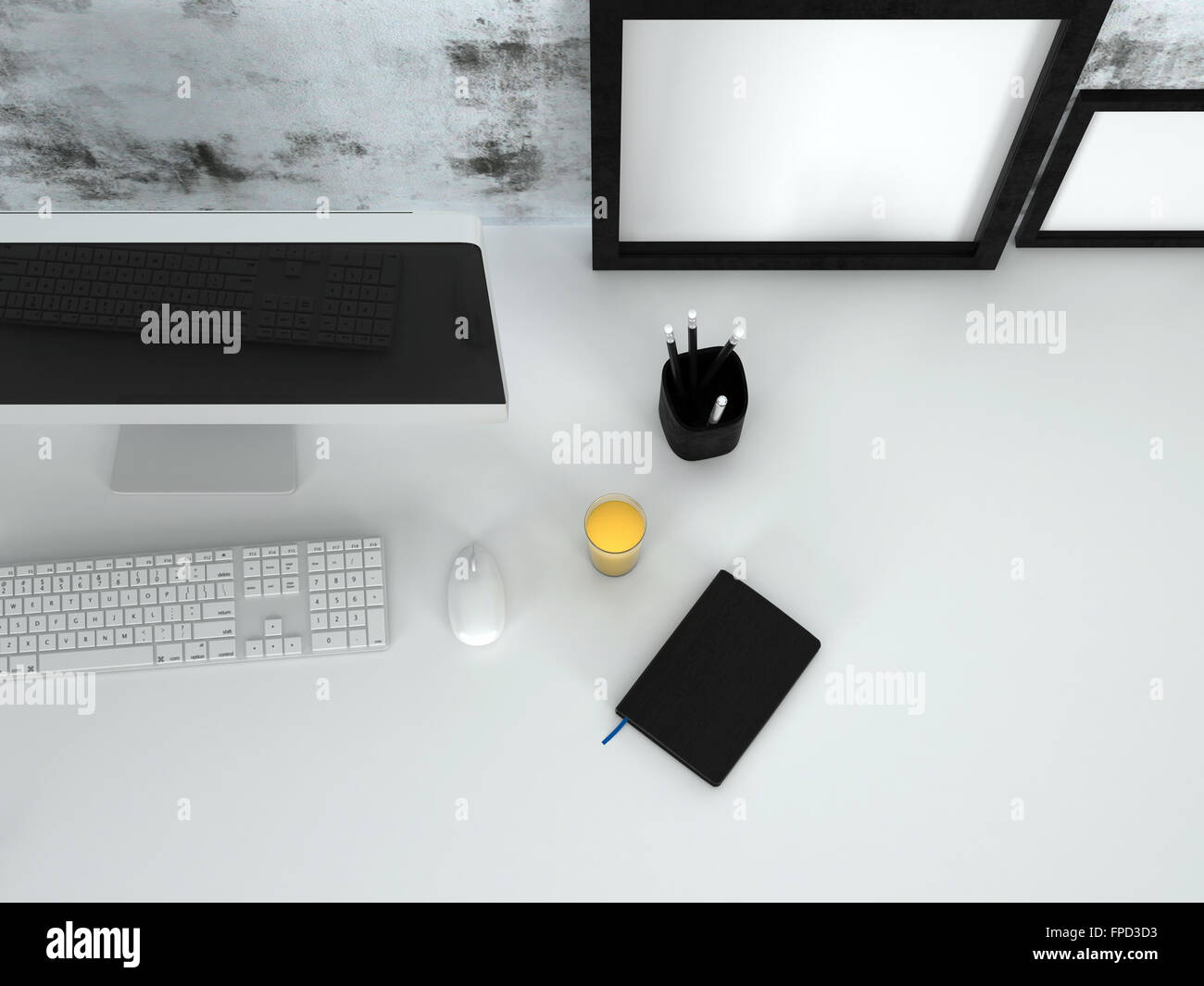Vue de dessus d un bureau propre bureau avec un ordinateur de