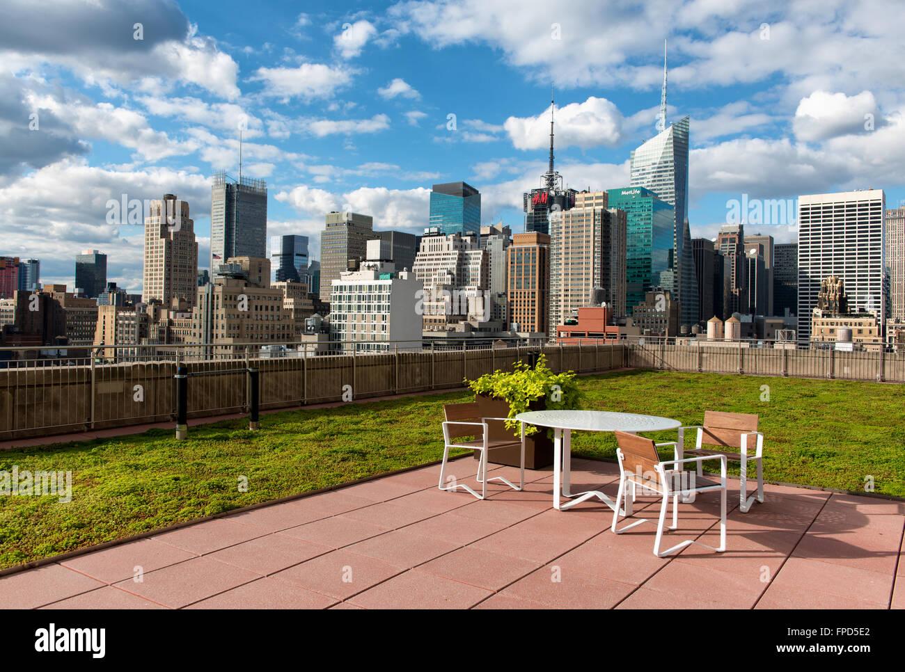 Terrasse Sur Le Toit Dans La Ville De New York Avec Une Table Et Des
