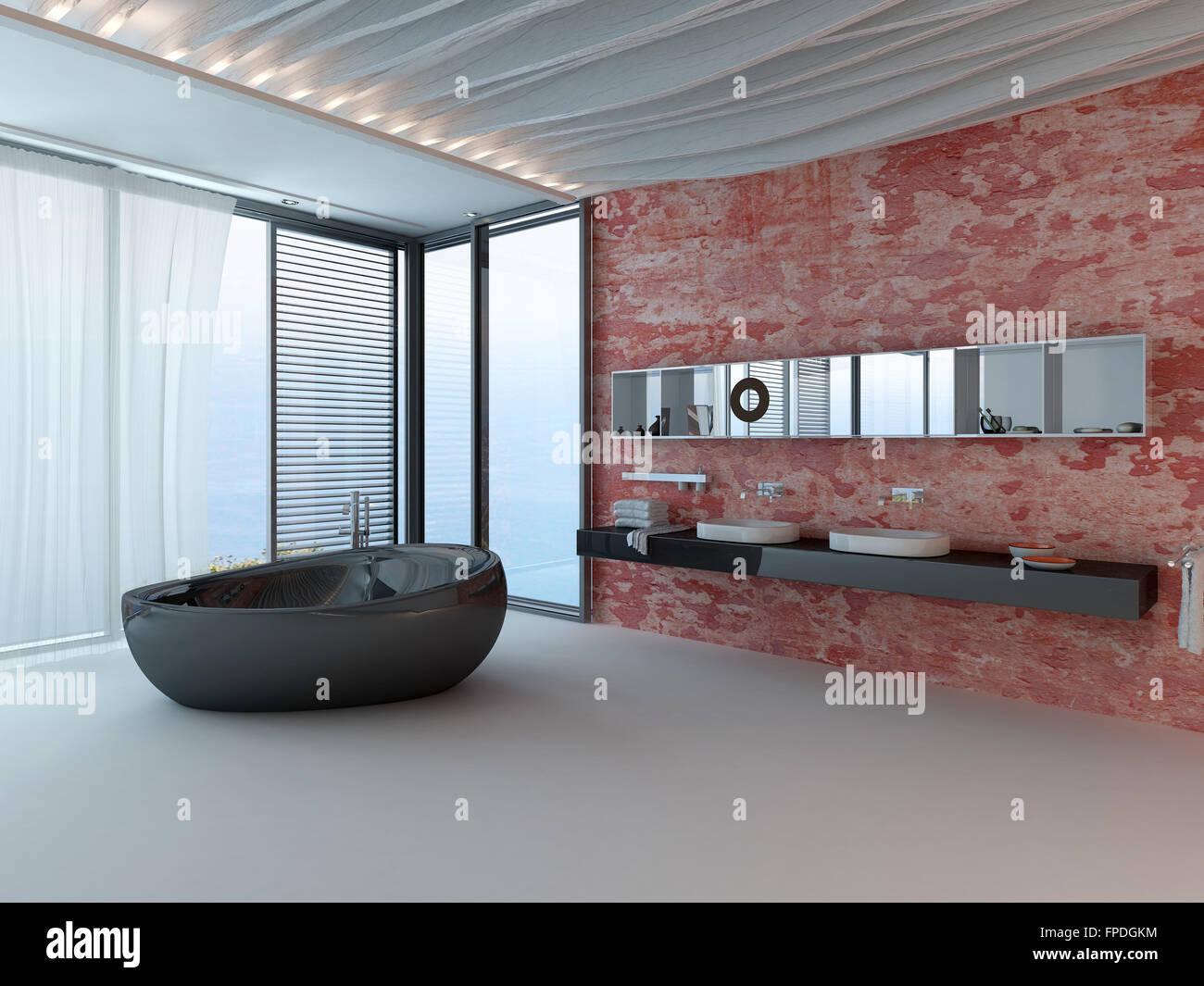 Salle de bains baignoire moderne d\'intérieur en pierre rouge ...