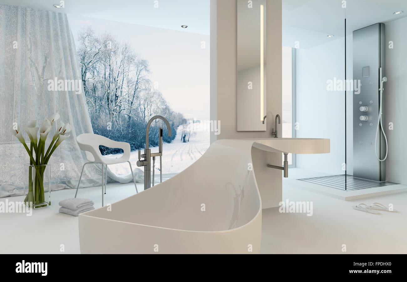 Design ultra moderne de l intérieur salle de bains avec baignoire