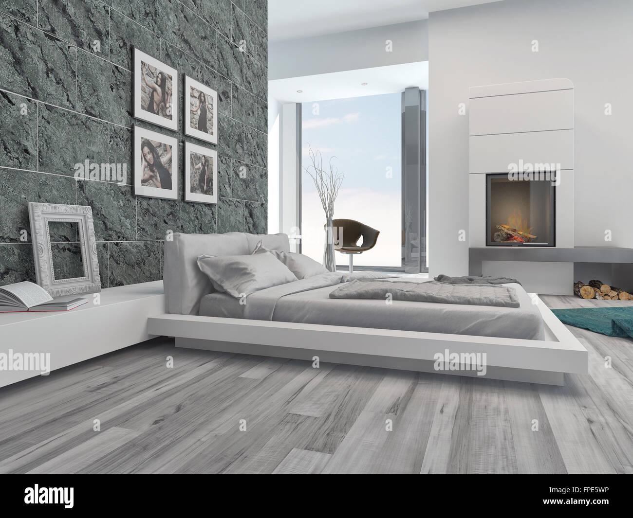 Interieur Chambre A Coucher Moderne Avec Un Elegant Decor Gris