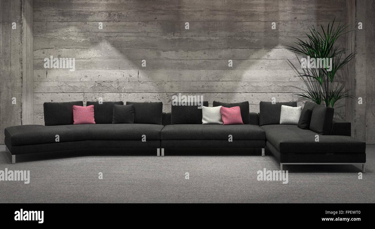 Sans fenêtre moderne salon intérieur avec un mur de brique gris ...