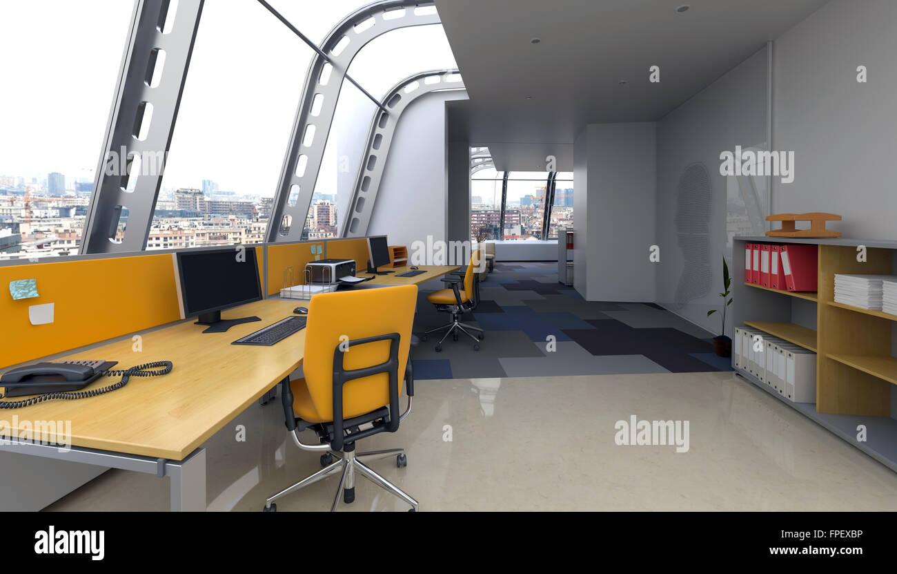 L intérieur de bureau moderne avec verre incurvé windows dans une