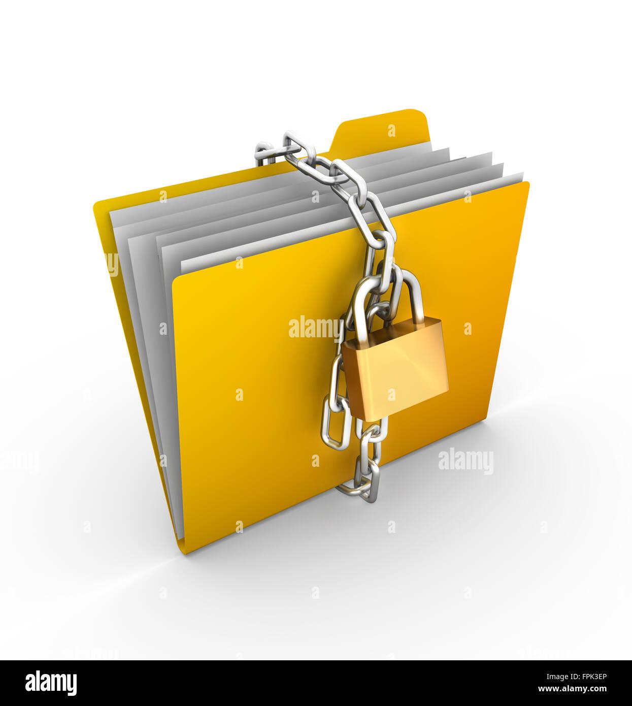 Les chaînes verrouillées par dossier , c'est un 3D générée par ordinateur et l'image Photo Stock