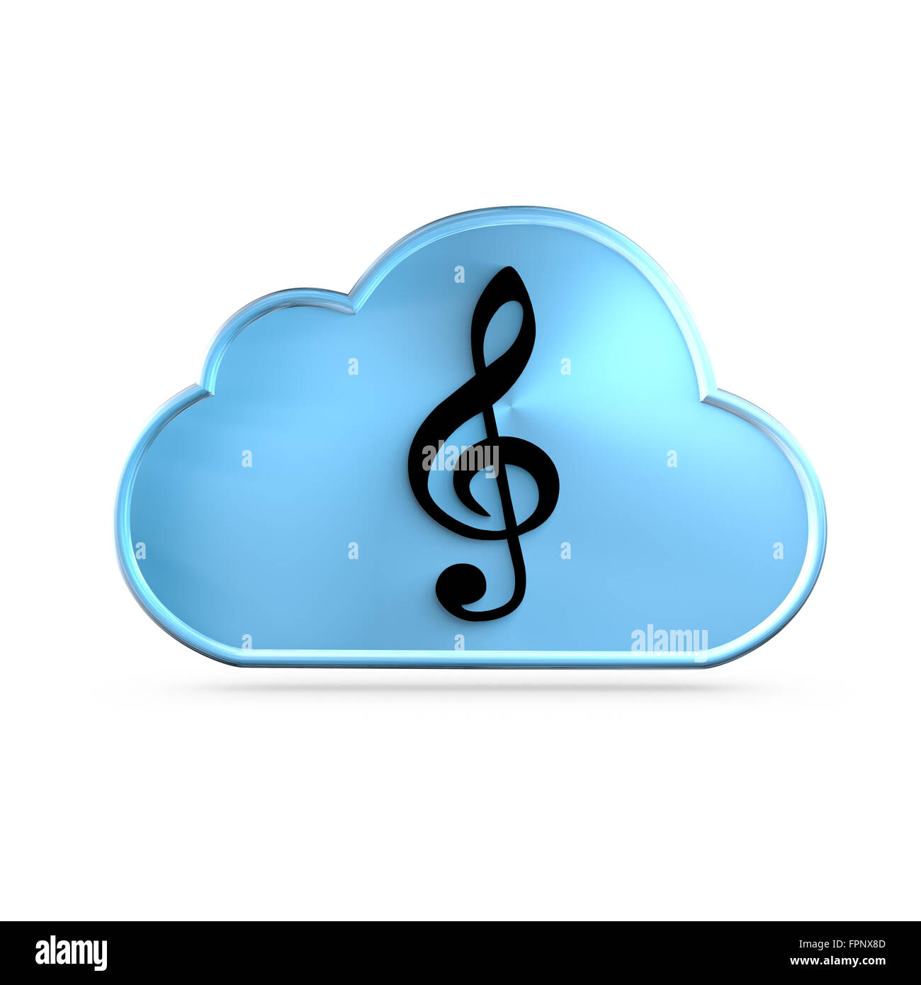 La musique en tant que service (MAAS) icon concept. Une clef sur un nuage G Photo Stock