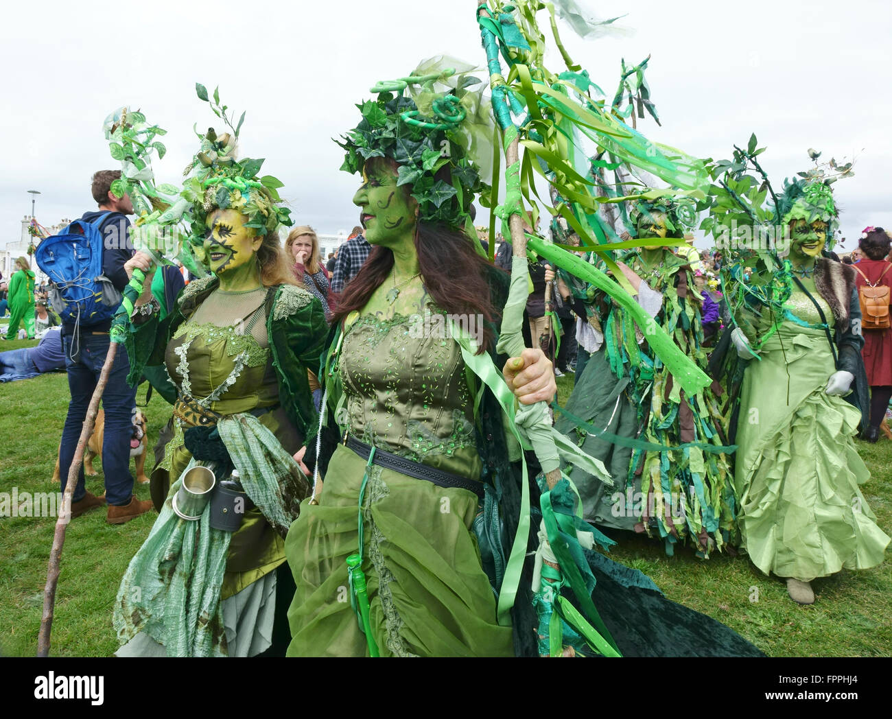 Costumés peuvent jour richement vert fêtards lors de l'Assemblée Jack-in-the Green festival, Photo Stock