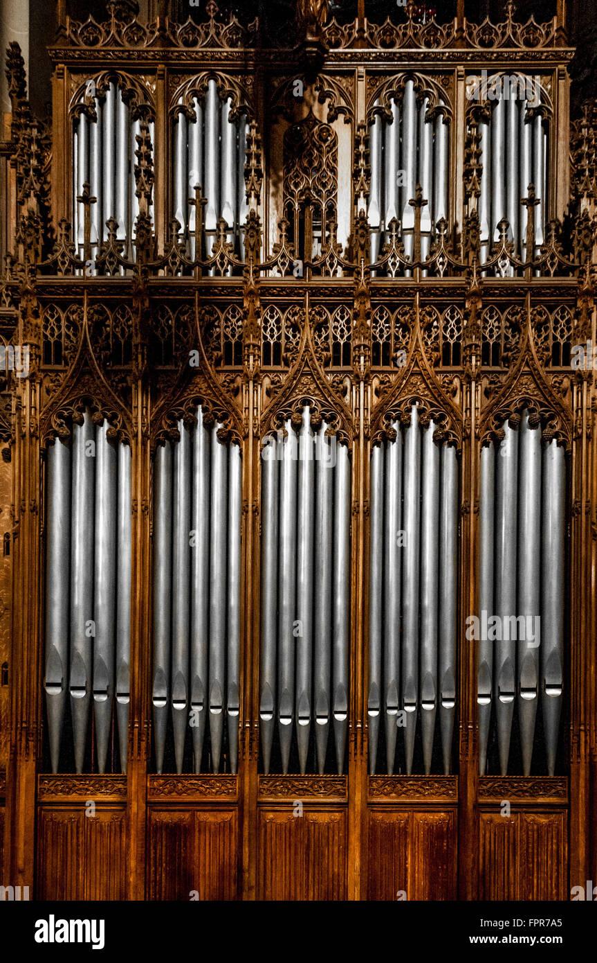 Tuyaux d'orgue à la Cathédrale Saint-Patrick, New York City, USA. Banque D'Images