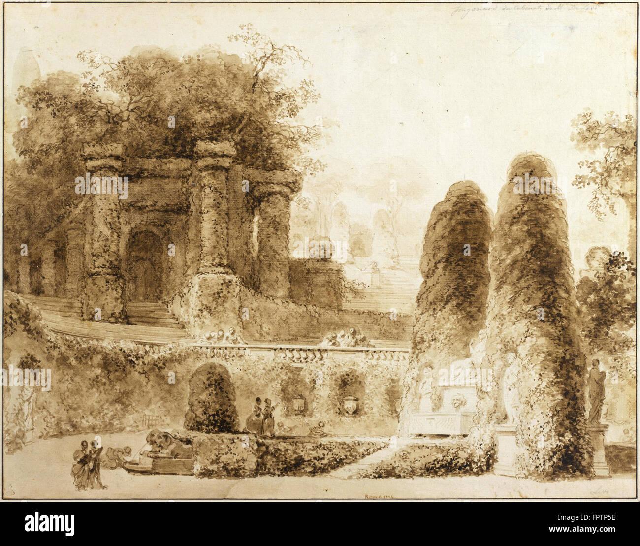 Jean Honoré Fragonard - parc avec fontaine romaine - 1774 Photo Stock