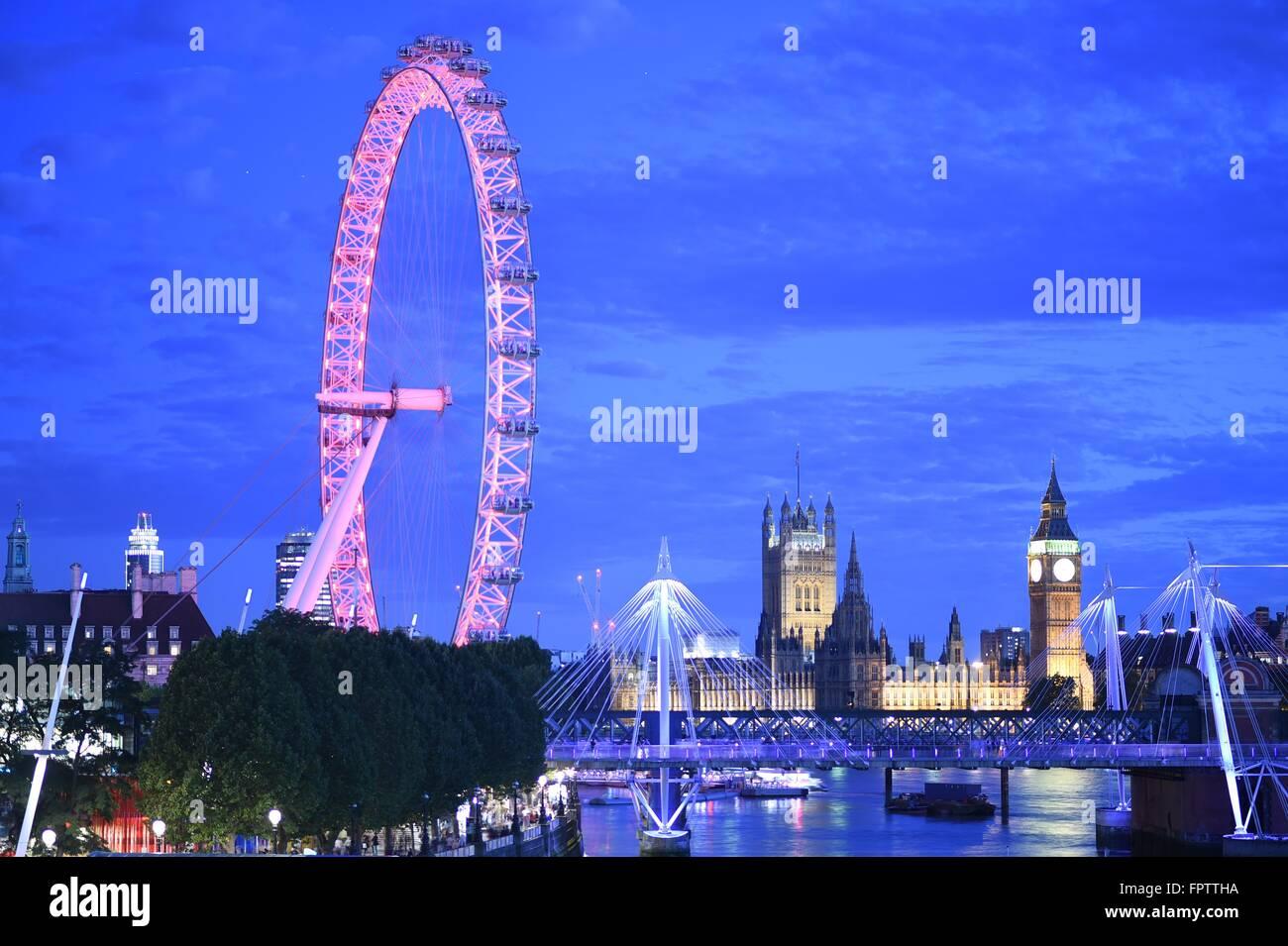 London Eye, vue à 360 degrés de Londres Photo Stock