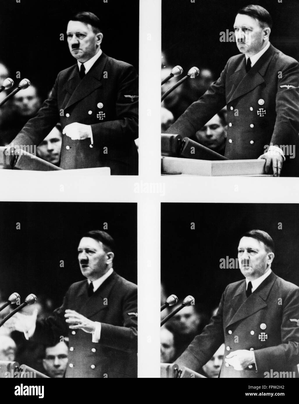 1930 1939 4 COMPOSITE DE POSE D'Adolf Hitler parlant de rassemblement à Potsdam en Allemagne Photo Stock