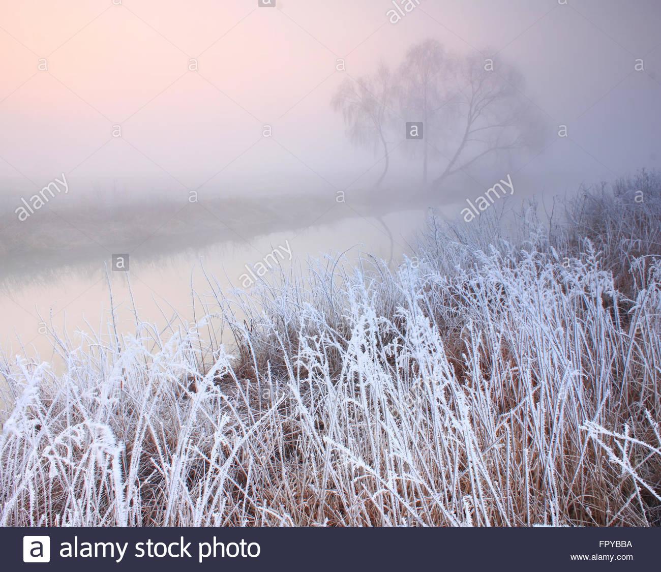 Matin brumeux avec le gel sur la rivière au début du printemps Photo Stock