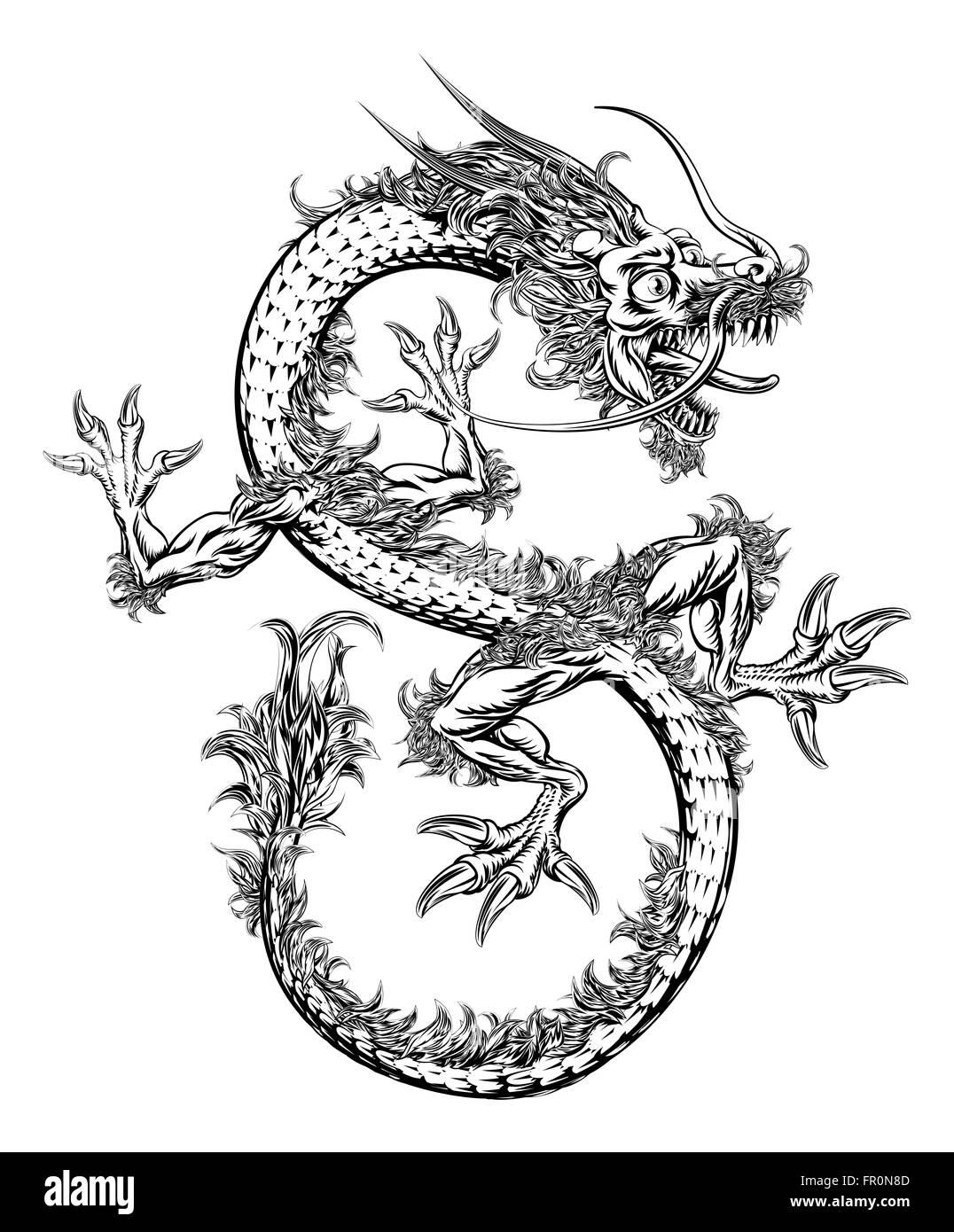 Une illustration en noir et blanc d 39 un style chinois ou japonais dragon oriental banque d 39 images - Dragon japonais ...