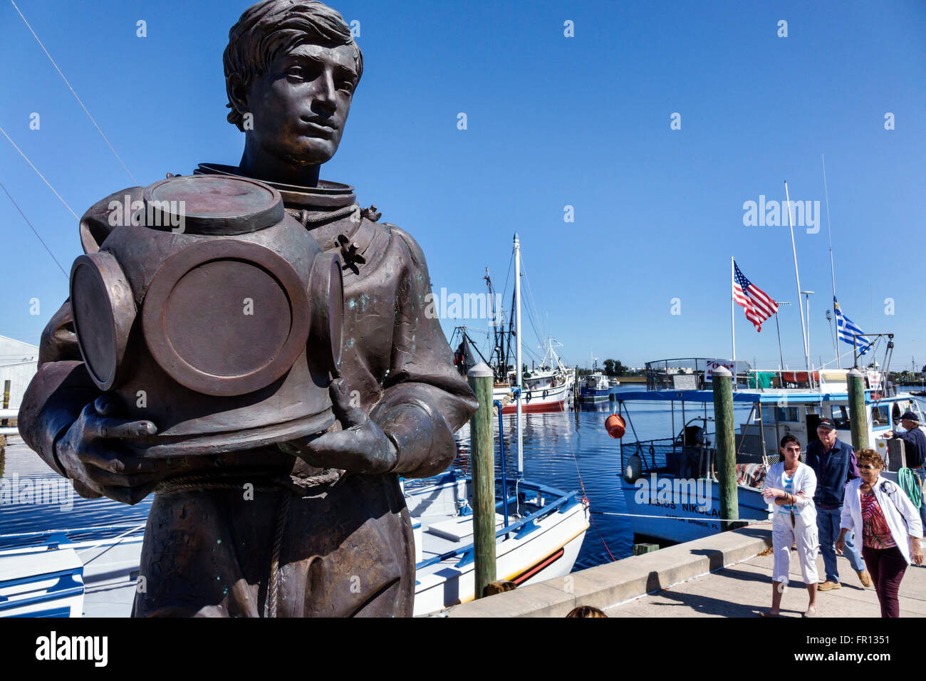 FL Floride Tarpon Springs communauté grecque Dodecanese Boulevard plongeur bronze statue commémorative Photo Stock