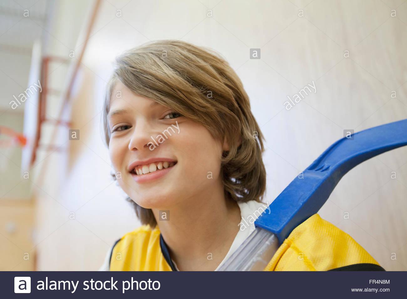 Portrait d'homme, de hockey player. Photo Stock