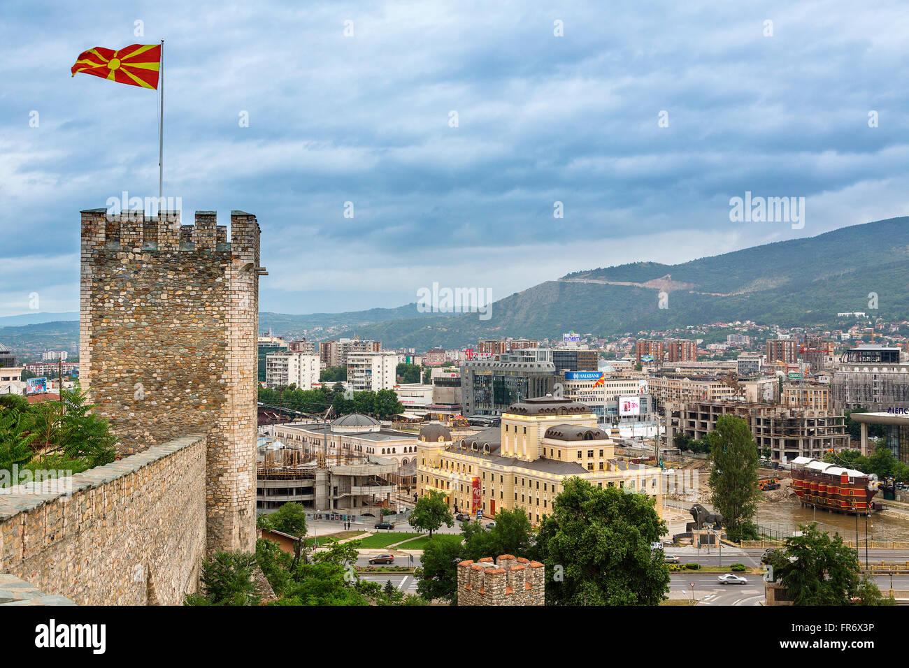 République de Macédoine, Skopje, les murs de la Ville Fort Kale Trvdina Photo Stock