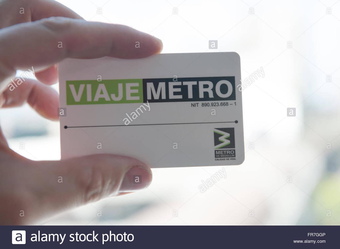 Medellin Colombie Metro system travel pass. Photo Stock