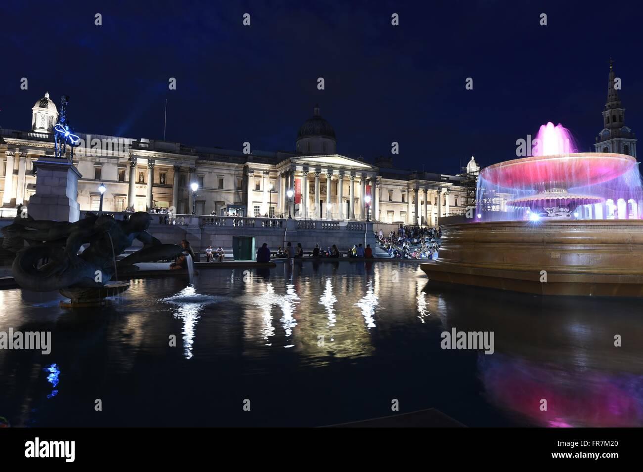 National Gallery, Trafalgar Square, galerie d'art à Londres, Royaume-Uni Photo Stock