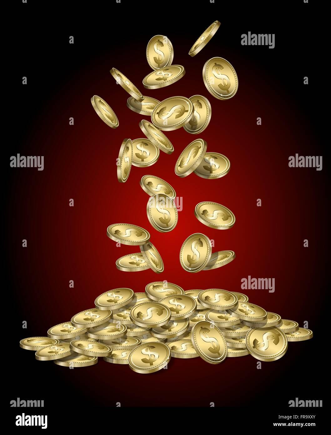 Des pièces d'or avec le signe dollar tomber dans un tas Illustration de Vecteur