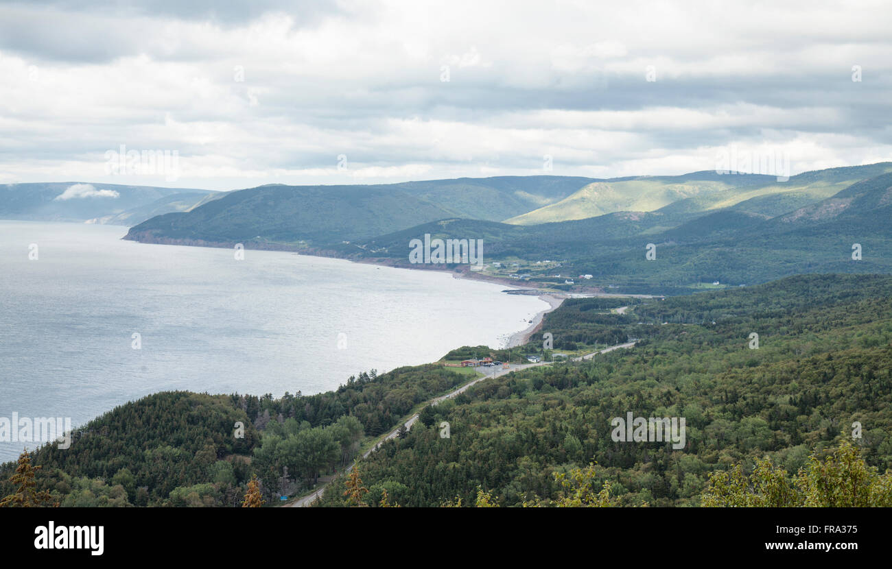 Vue de dessus de Pleasant Bay Cape Bretton island Nouvelle-Écosse Canada Photo Stock