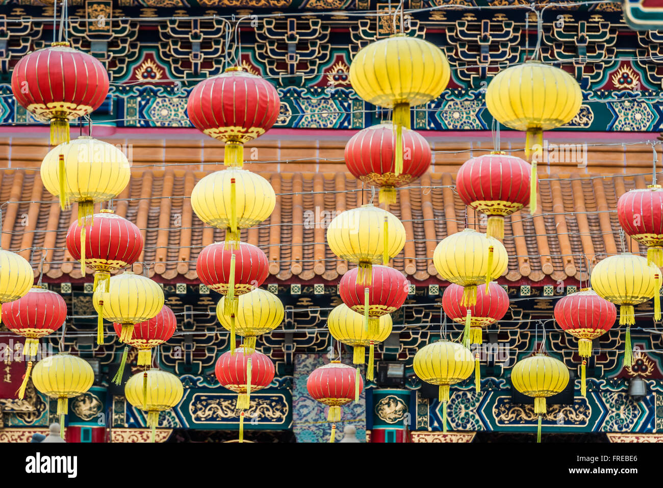 Lanternes chinois Sik Sik Yuen Wong Tai Sin Temple à Hong Kong Kowloon Photo Stock