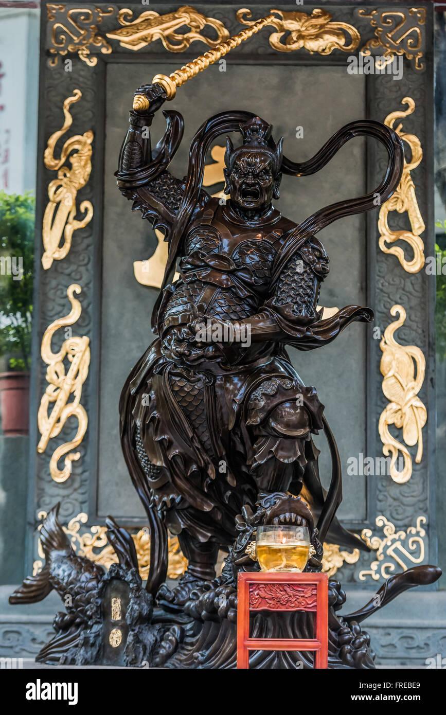 Statue de guerrier Sik Sik Yuen Wong Tai Sin Temple à Hong Kong Kowloon Photo Stock