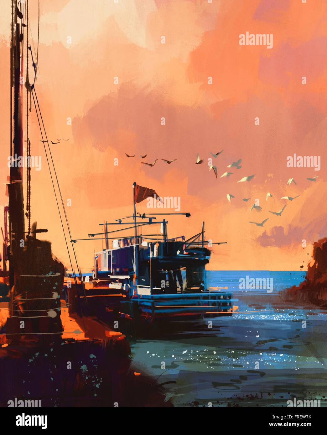 Peinture de bateau de pêche à Port au coucher du soleil Photo Stock