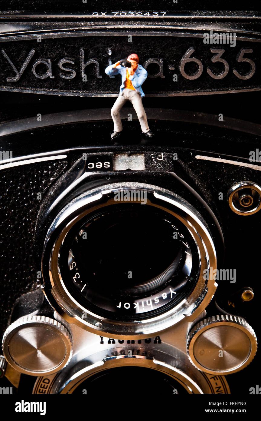 Photographe du prince sur une caméra photo, photographie concept Photo Stock